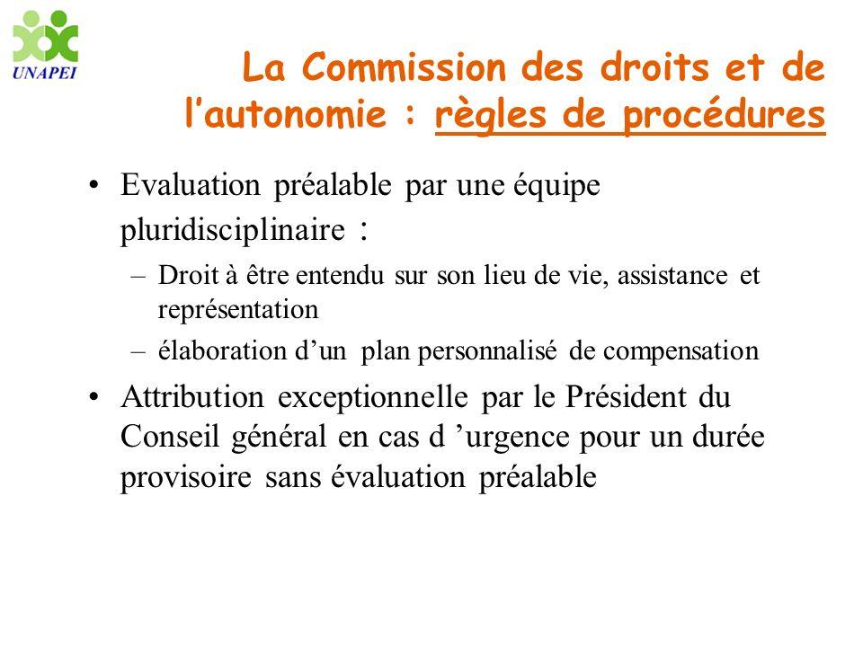 La Commission des droits et de l'autonomie : règles de procédures