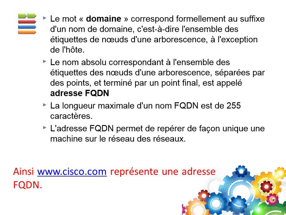 Ainsi www.cisco.com représente une adresse FQDN.