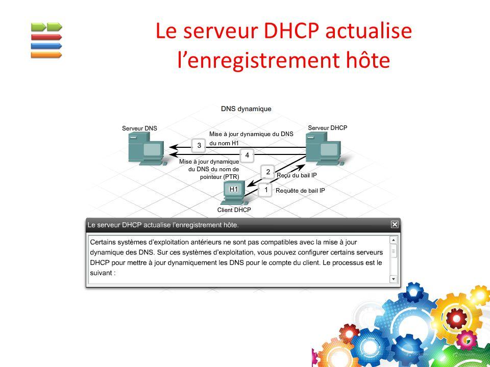 Le serveur DHCP actualise l'enregistrement hôte
