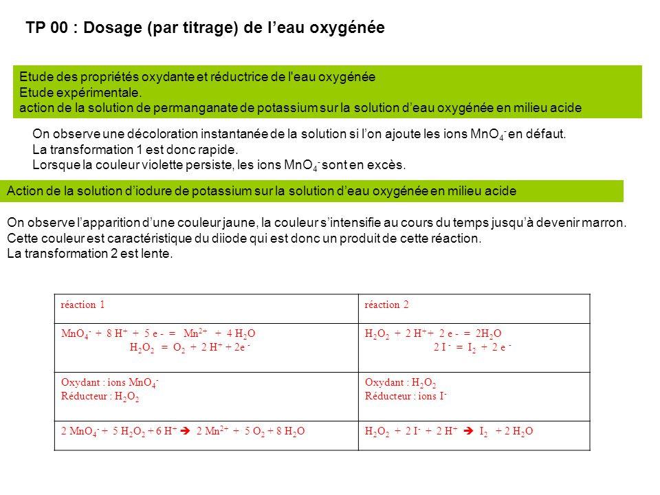 TP 00 : Dosage (par titrage) de l'eau oxygénée