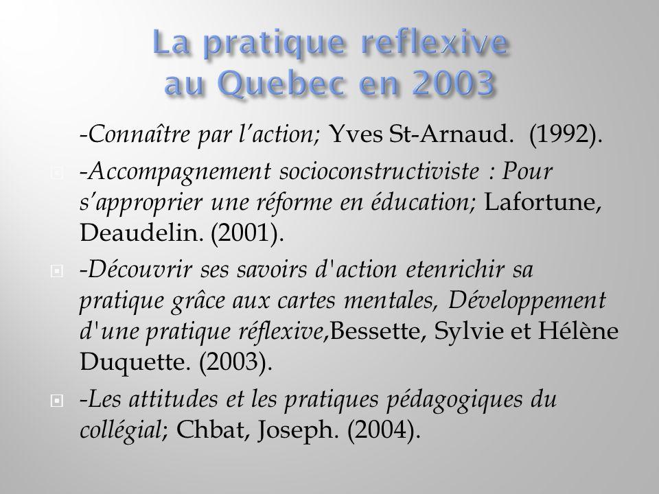 La pratique reflexive au Quebec en 2003