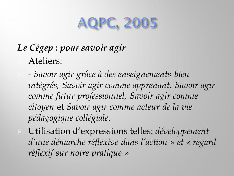 AQPC, 2005 Le Cégep : pour savoir agir Ateliers: