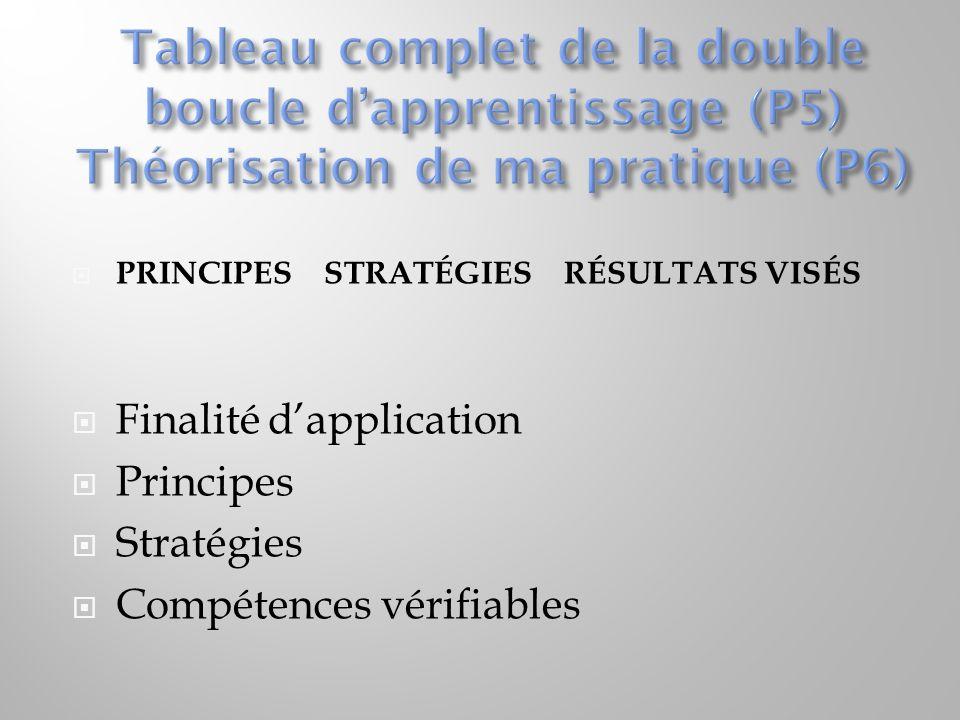Tableau complet de la double boucle d'apprentissage (P5) Théorisation de ma pratique (P6)