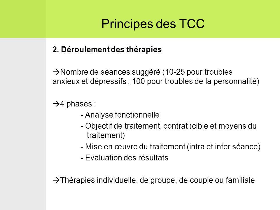 Principes des TCC 2. Déroulement des thérapies