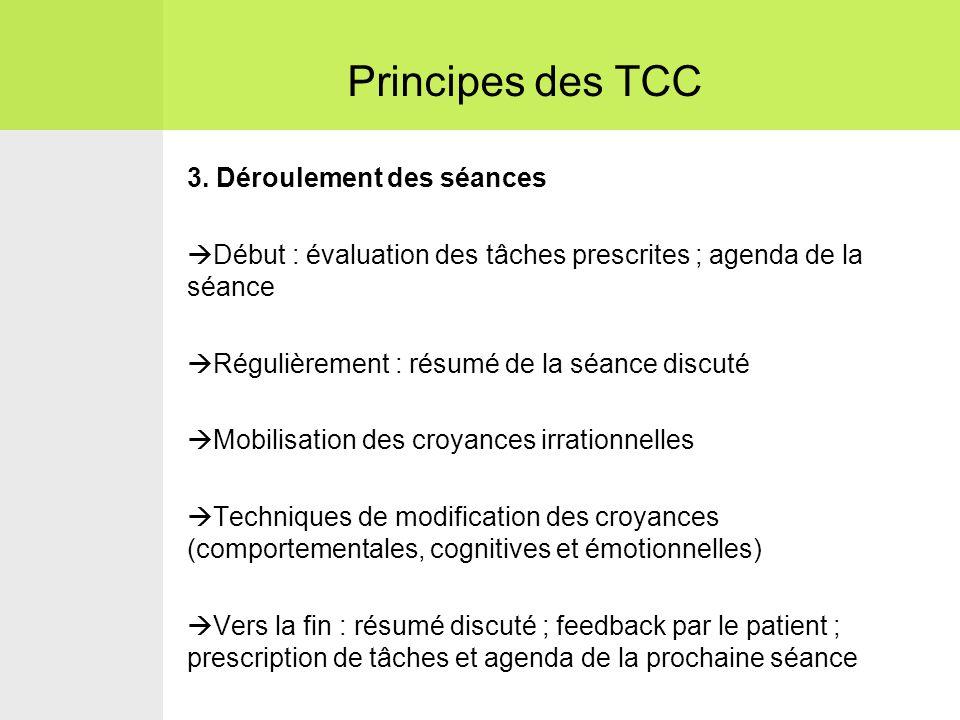 Principes des TCC 3. Déroulement des séances