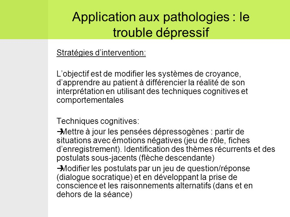 Application aux pathologies : le trouble dépressif