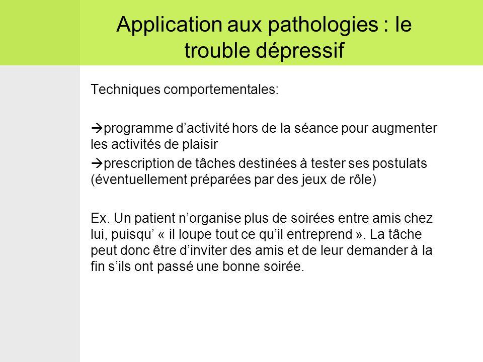 Application aux pathologies : le trouble dépressif