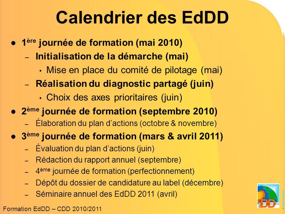 Calendrier des EdDD 1ère journée de formation (mai 2010)