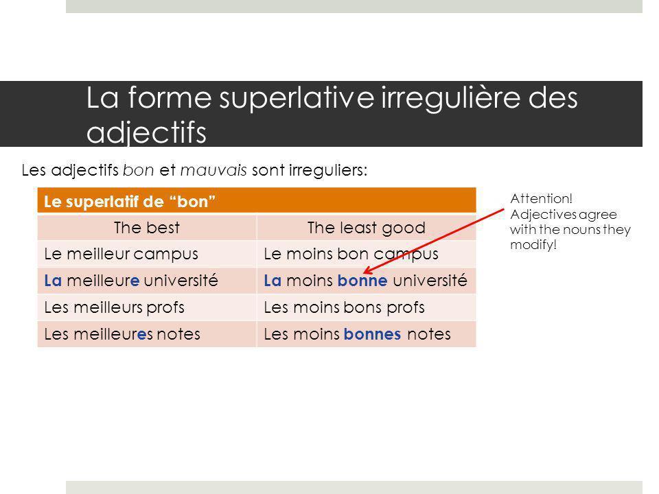 La forme superlative irregulière des adjectifs