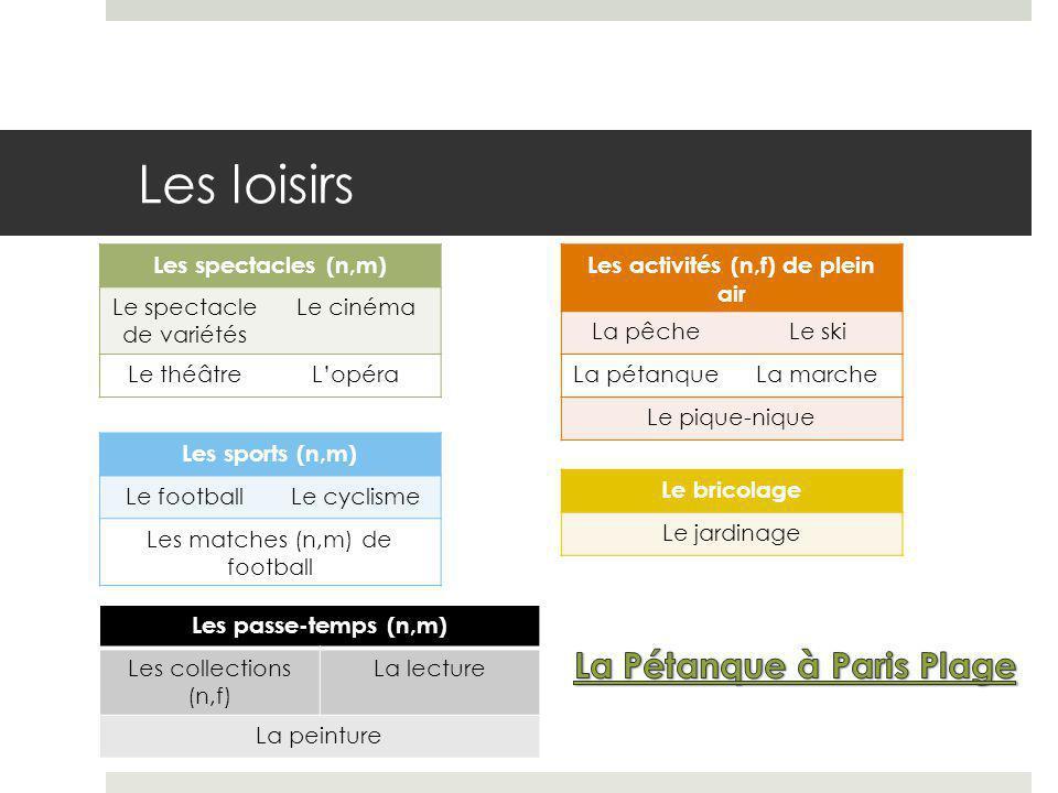 Les activités (n,f) de plein air La Pétanque à Paris Plage