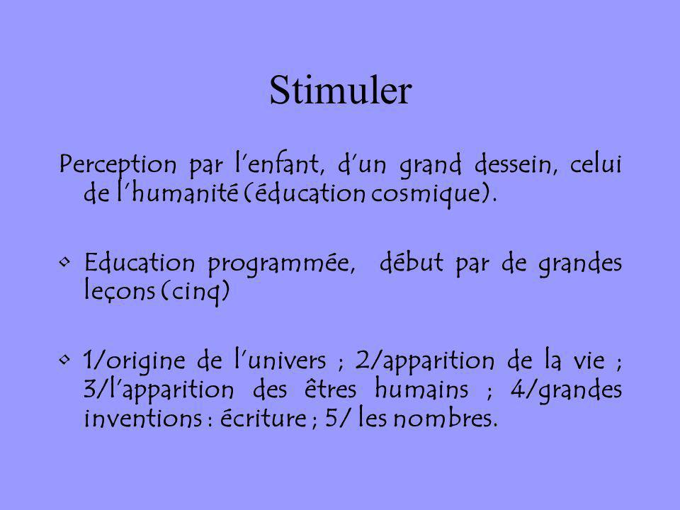 Stimuler Perception par l'enfant, d'un grand dessein, celui de l'humanité (éducation cosmique).