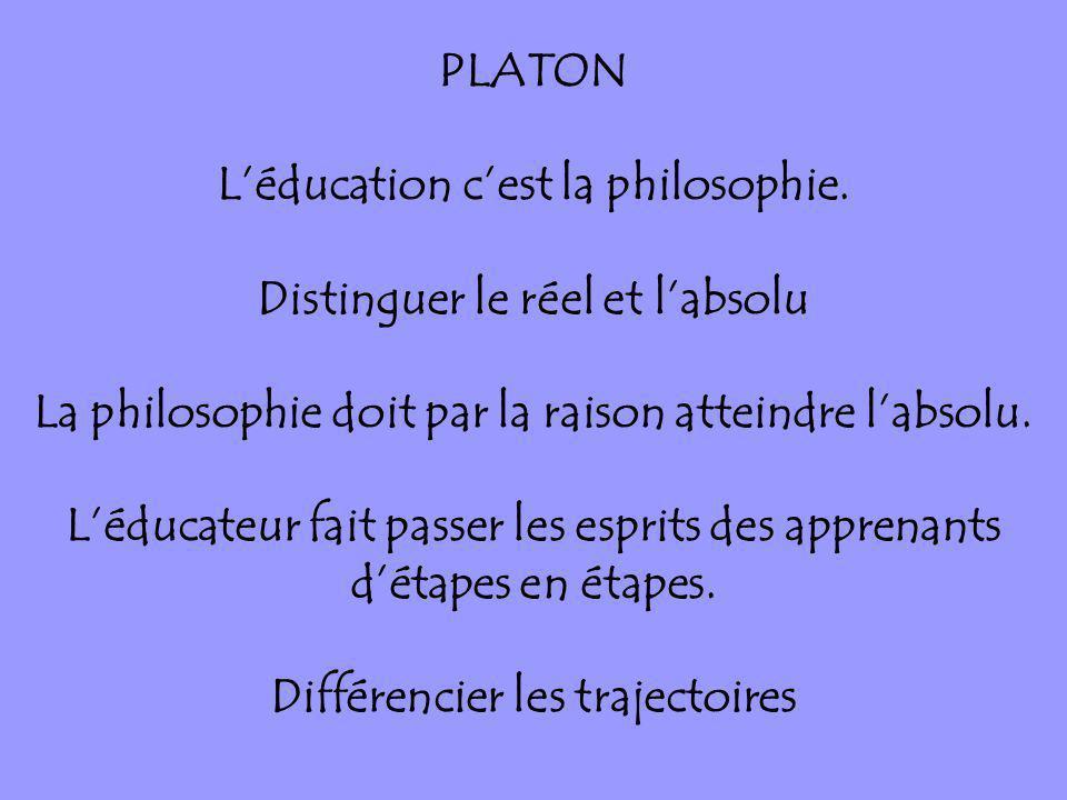 L'éducation c'est la philosophie. Distinguer le réel et l'absolu