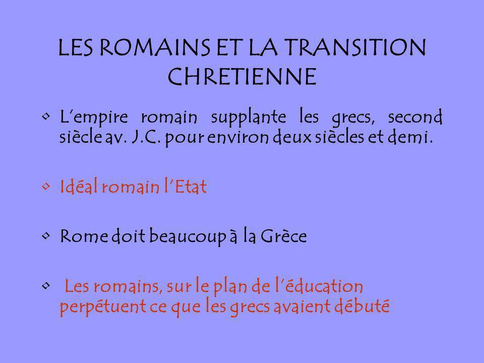 LES ROMAINS ET LA TRANSITION CHRETIENNE