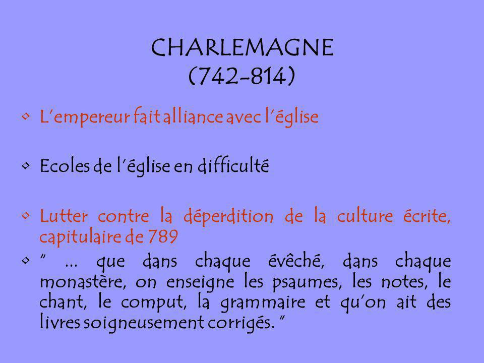 CHARLEMAGNE (742-814) L'empereur fait alliance avec l'église