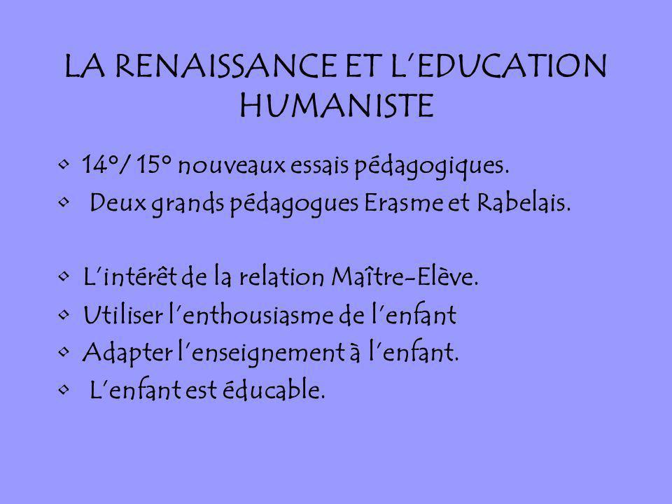 LA RENAISSANCE ET L'EDUCATION HUMANISTE