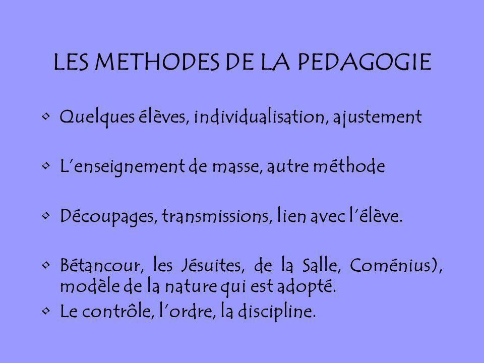 LES METHODES DE LA PEDAGOGIE