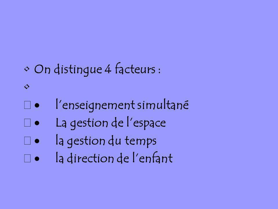 On distingue 4 facteurs :