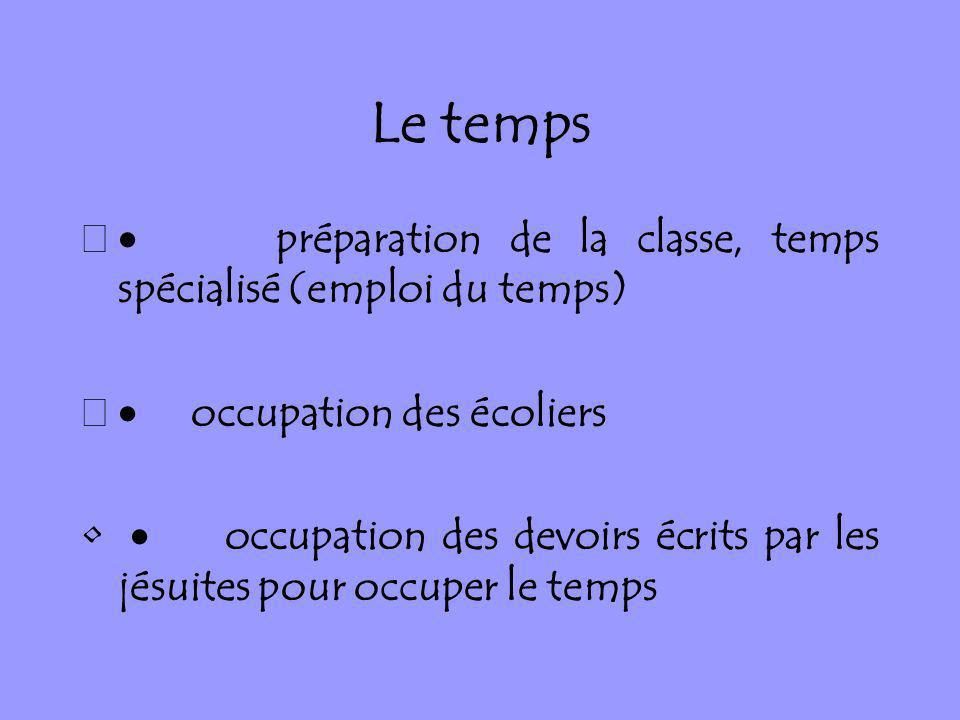 Le temps · préparation de la classe, temps spécialisé (emploi du temps) · occupation des écoliers.