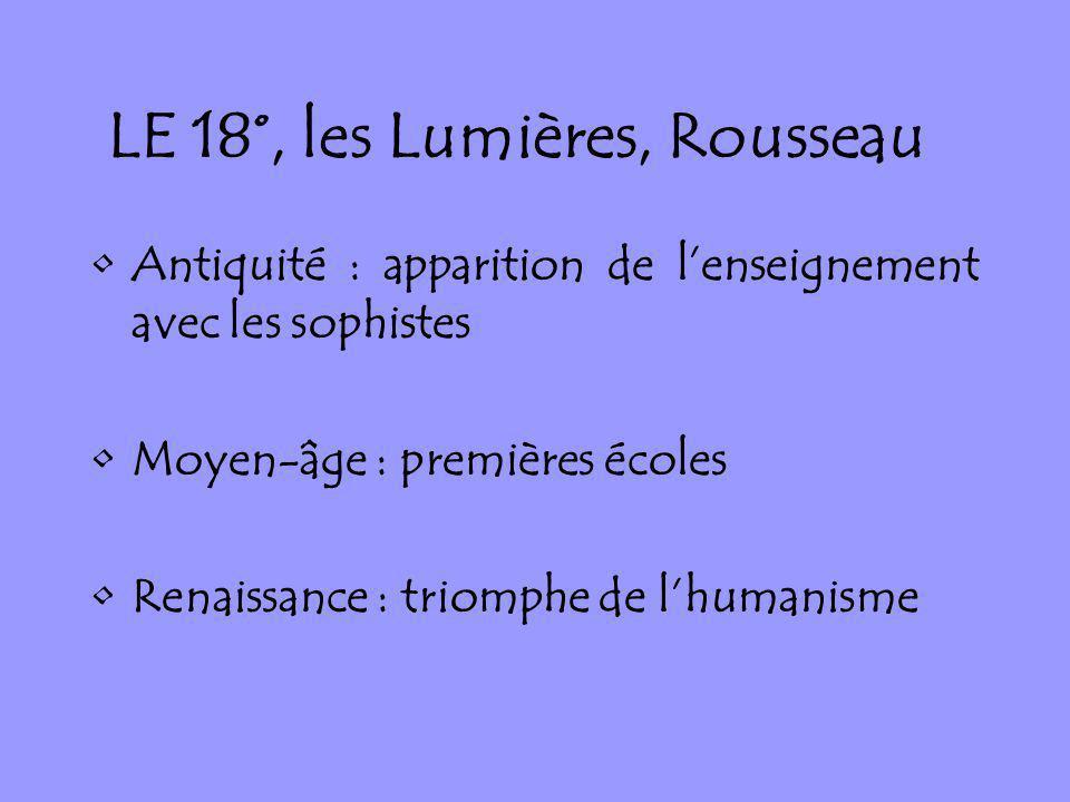 LE 18°, les Lumières, Rousseau