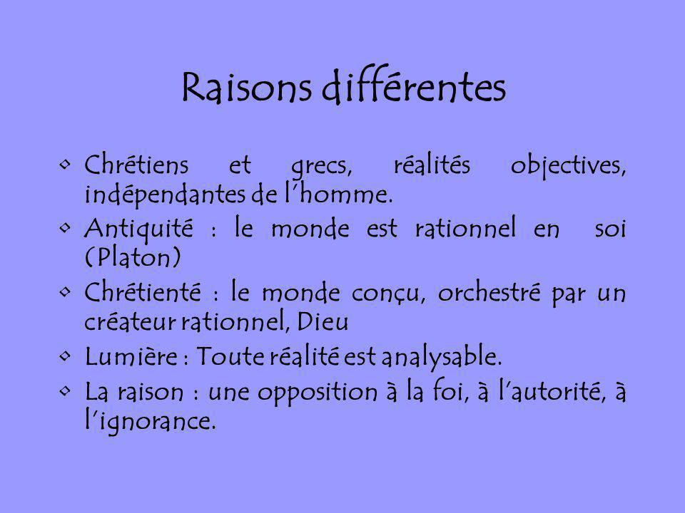 Raisons différentes Chrétiens et grecs, réalités objectives, indépendantes de l'homme. Antiquité : le monde est rationnel en soi (Platon)