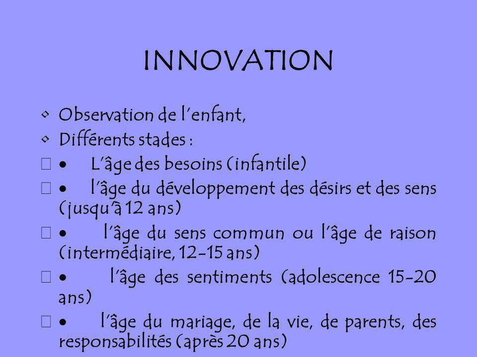 INNOVATION Observation de l'enfant, Différents stades :