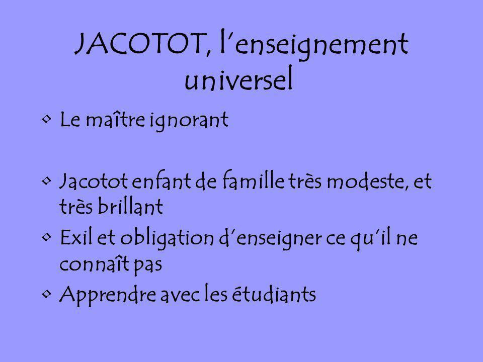 JACOTOT, l'enseignement universel