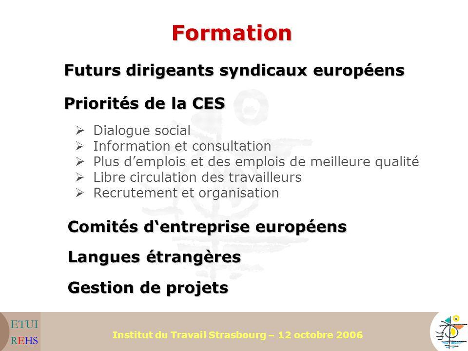 Formation Futurs dirigeants syndicaux européens Priorités de la CES
