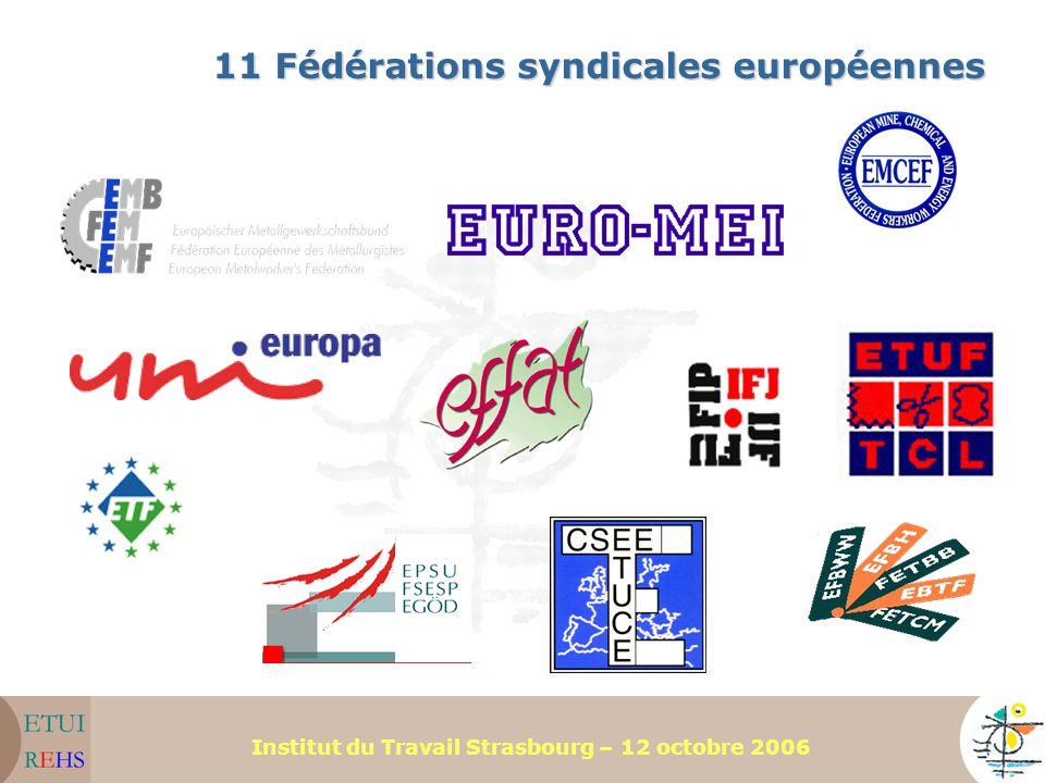 11 Fédérations syndicales européennes