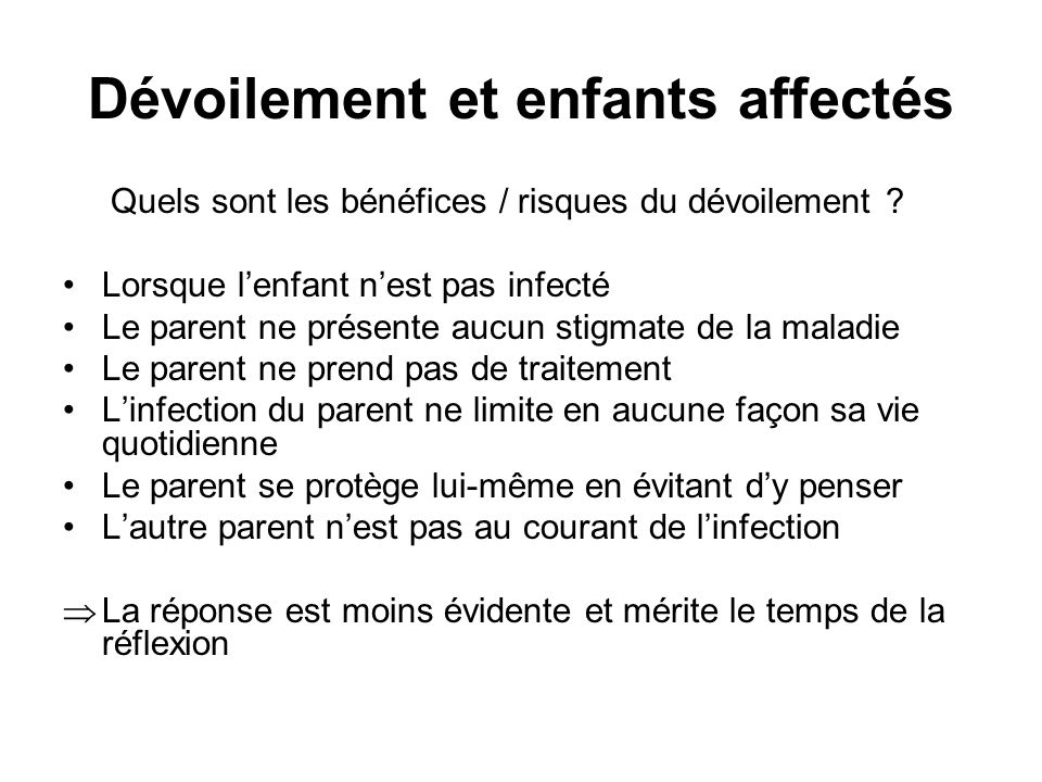 Dévoilement et enfants affectés