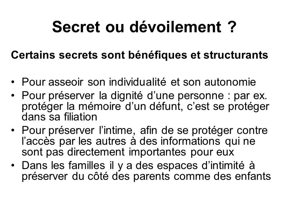 Secret ou dévoilement Certains secrets sont bénéfiques et structurants. Pour asseoir son individualité et son autonomie.