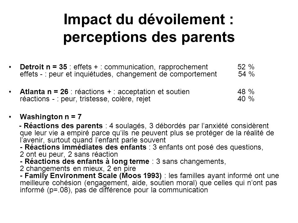 Impact du dévoilement : perceptions des parents
