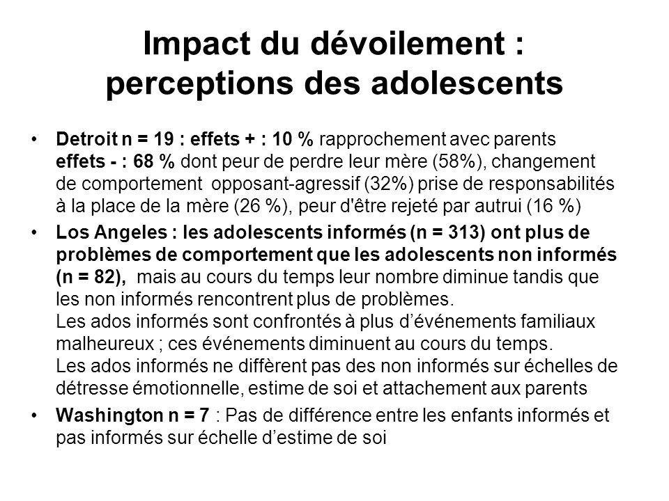 Impact du dévoilement : perceptions des adolescents