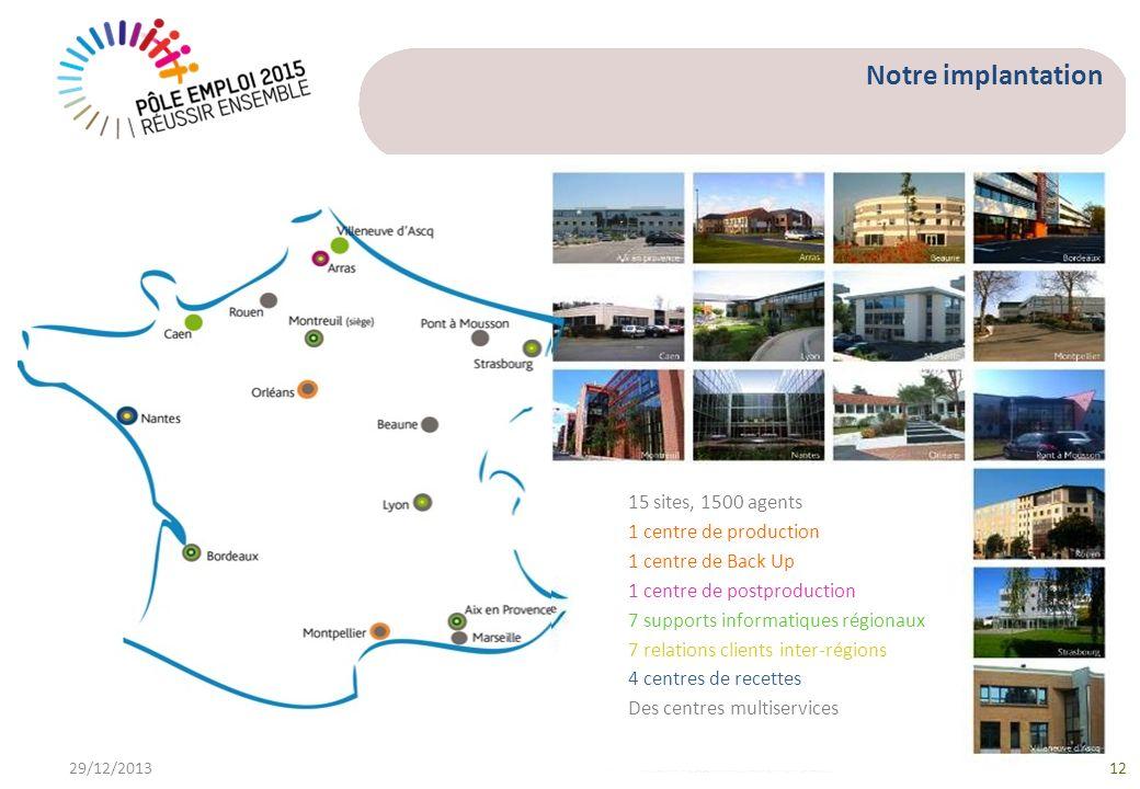 Notre implantation 15 sites, 1500 agents 1 centre de production