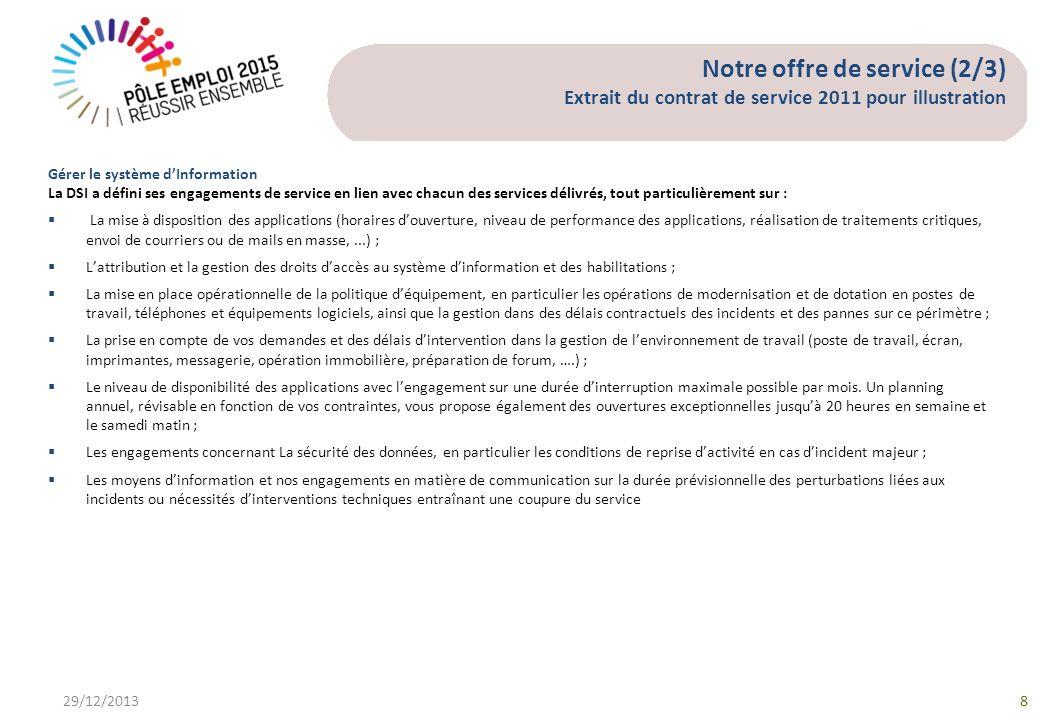 Notre offre de service (2/3) Extrait du contrat de service 2011 pour illustration