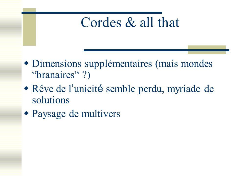Cordes & all that Dimensions supplémentaires (mais mondes branaires ) Rêve de l'unicité semble perdu, myriade de solutions.