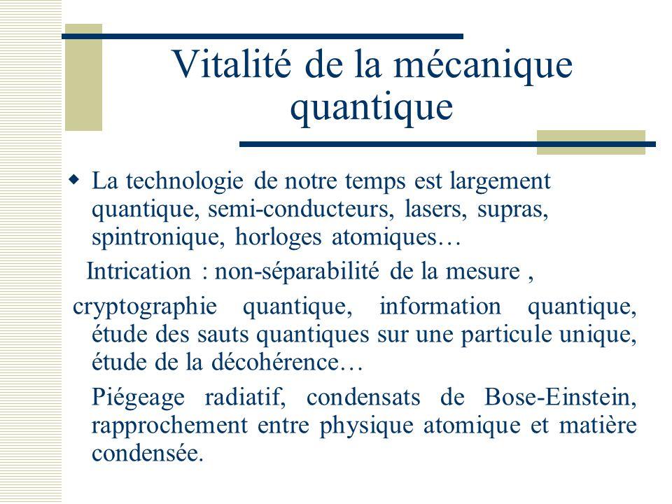 Vitalité de la mécanique quantique