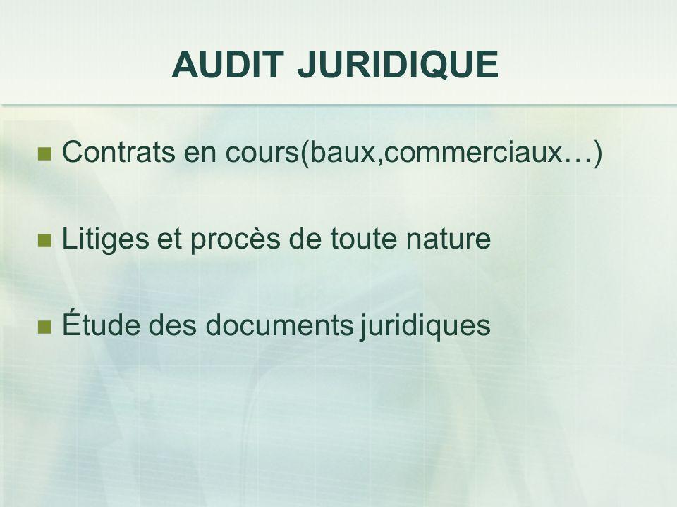 AUDIT JURIDIQUE Contrats en cours(baux,commerciaux…)