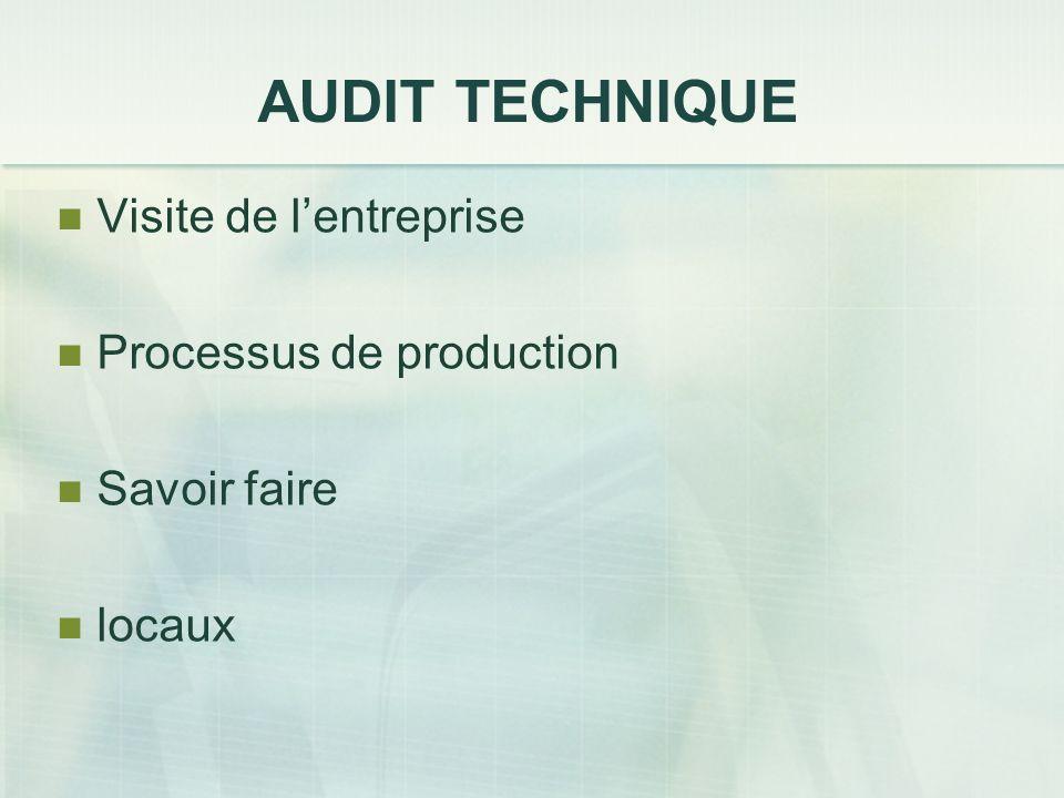 AUDIT TECHNIQUE Visite de l'entreprise Processus de production