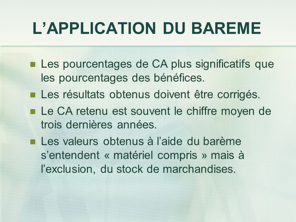 L'APPLICATION DU BAREME