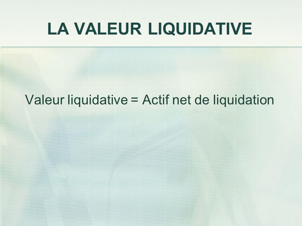 Valeur liquidative = Actif net de liquidation