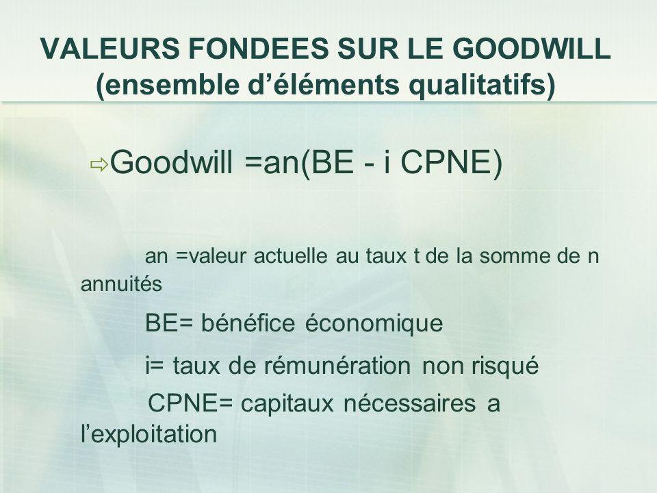 VALEURS FONDEES SUR LE GOODWILL (ensemble d'éléments qualitatifs)