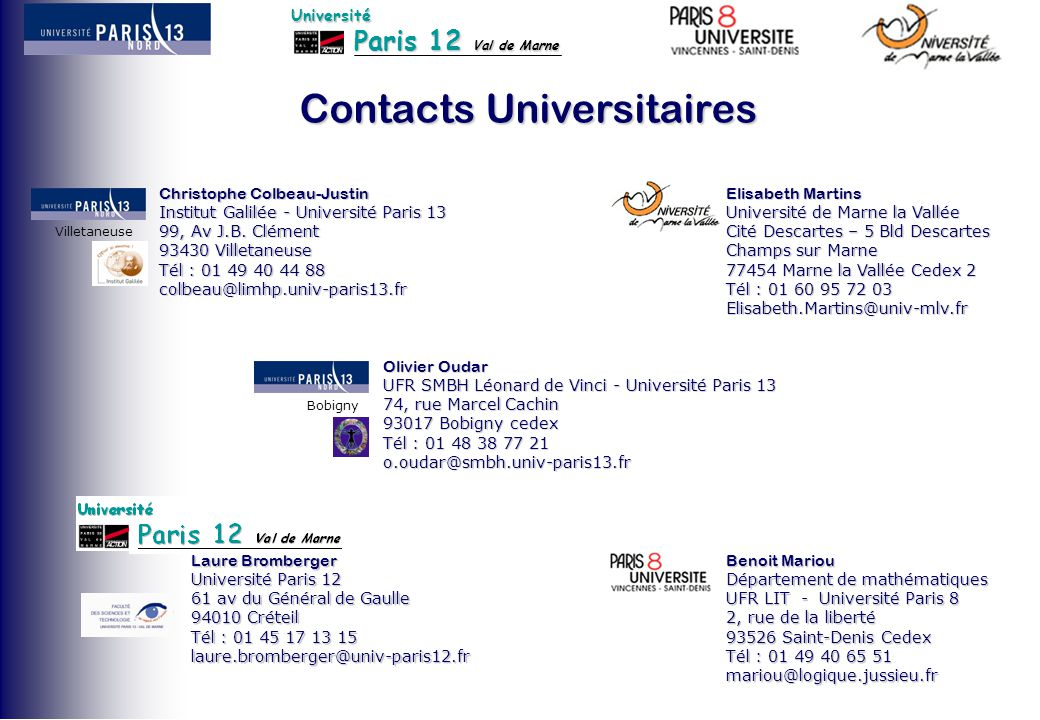 Contacts Universitaires