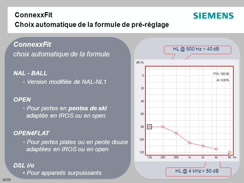 Choix automatique de la formule de pré-réglage ConnexxFit