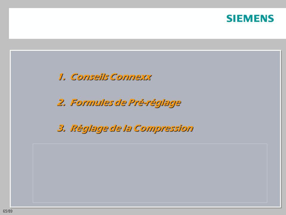 Conseils Connexx Formules de Pré-réglage. Réglage de la Compression. Traitement de la parole et du bruit.