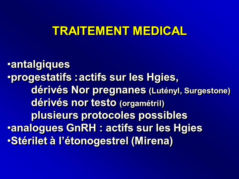 TRAITEMENT MEDICAL antalgiques progestatifs : actifs sur les Hgies,