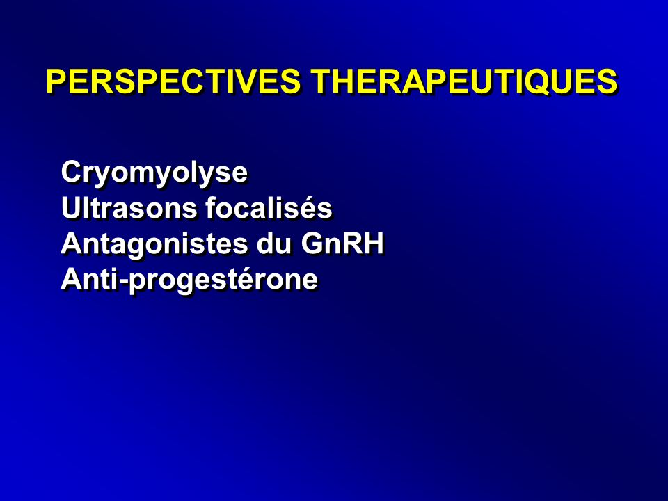 PERSPECTIVES THERAPEUTIQUES