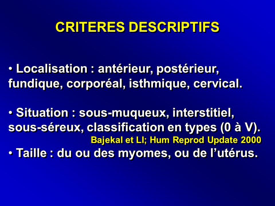 CRITERES DESCRIPTIFS Localisation : antérieur, postérieur, fundique, corporéal, isthmique, cervical.