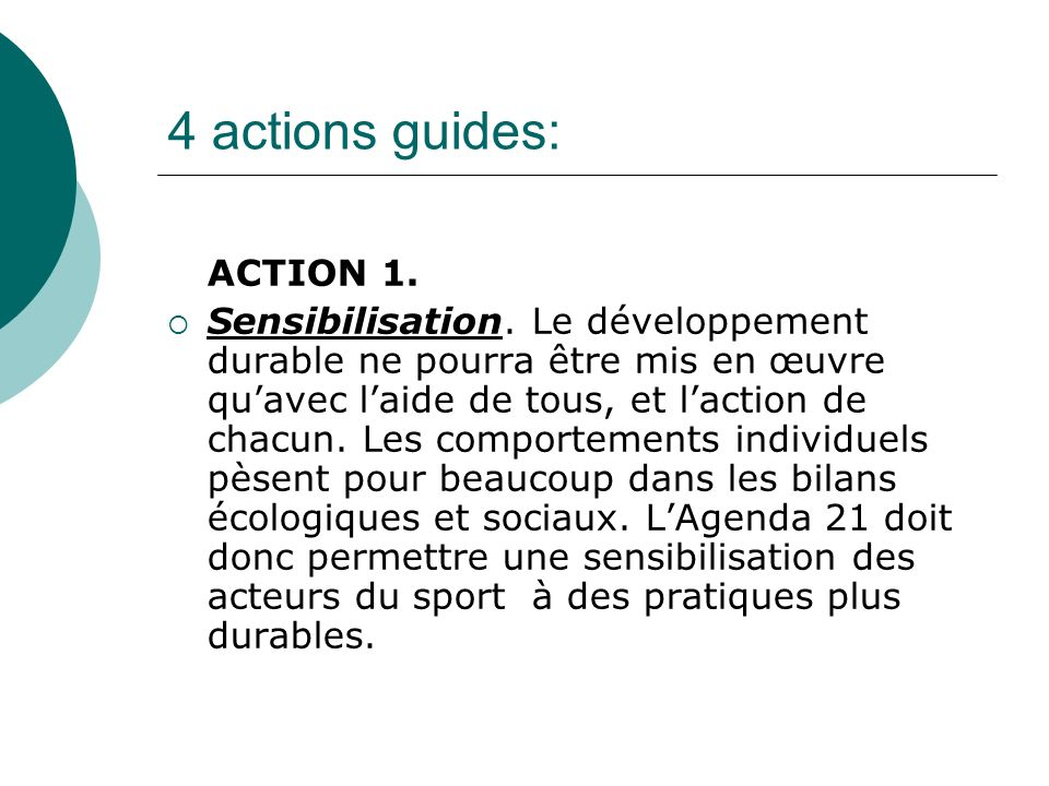 4 actions guides: ACTION 1.