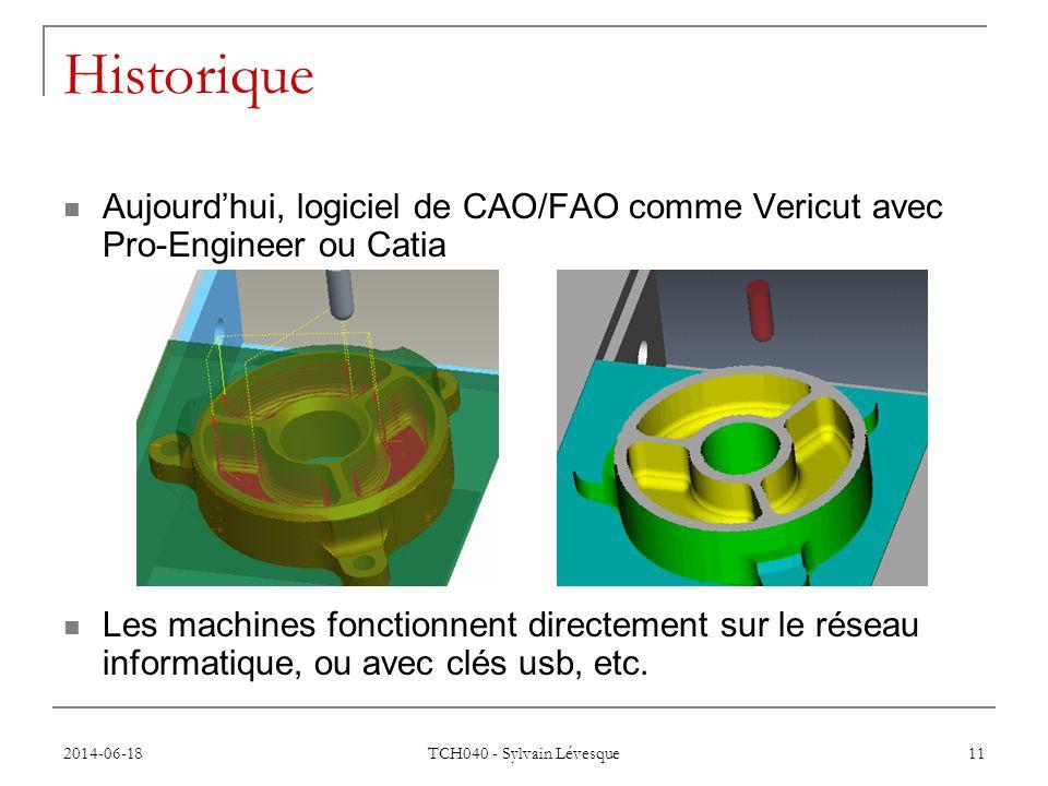 Historique Aujourd'hui, logiciel de CAO/FAO comme Vericut avec Pro-Engineer ou Catia.