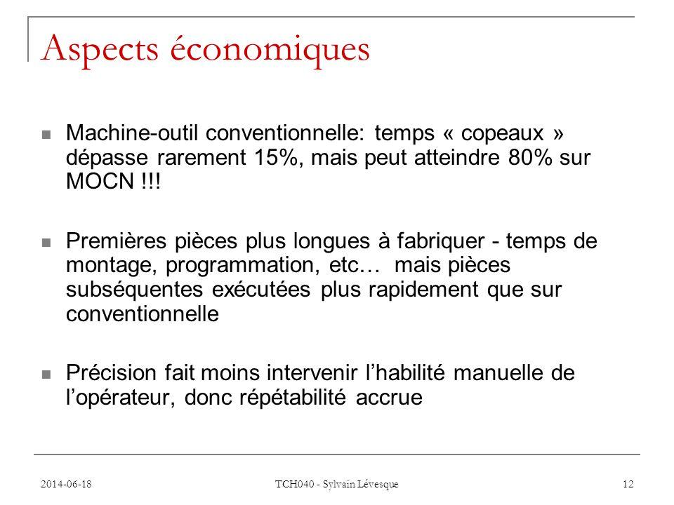 Aspects économiques Machine-outil conventionnelle: temps « copeaux » dépasse rarement 15%, mais peut atteindre 80% sur MOCN !!!